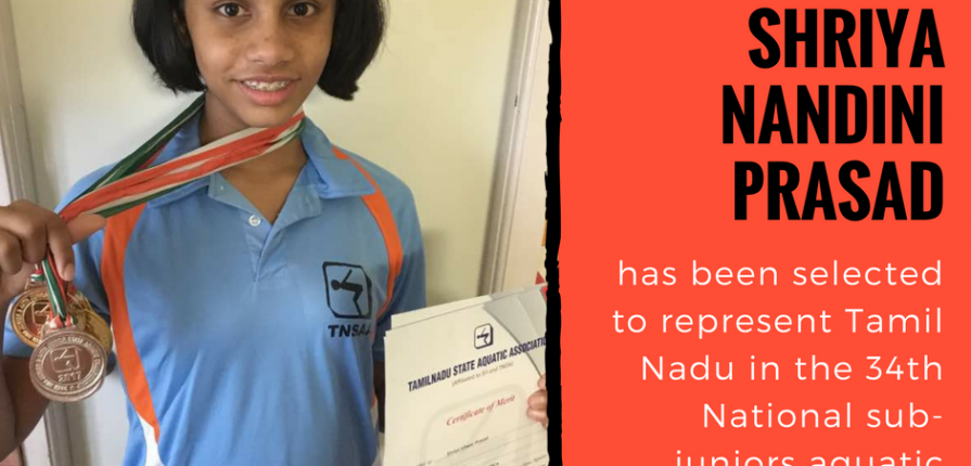 KC High grade 6 student Shriya to represent Tamil Nadu in aquatic championships
