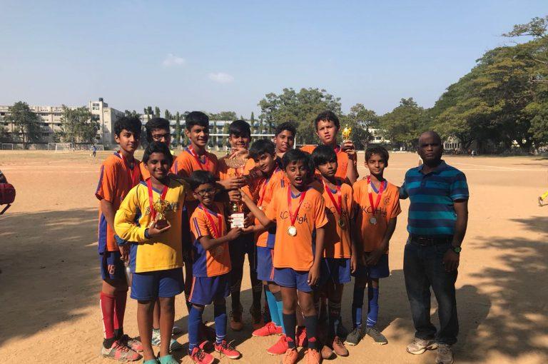 KC High students win the U-12 Chennai Football Association Tournament January 2018