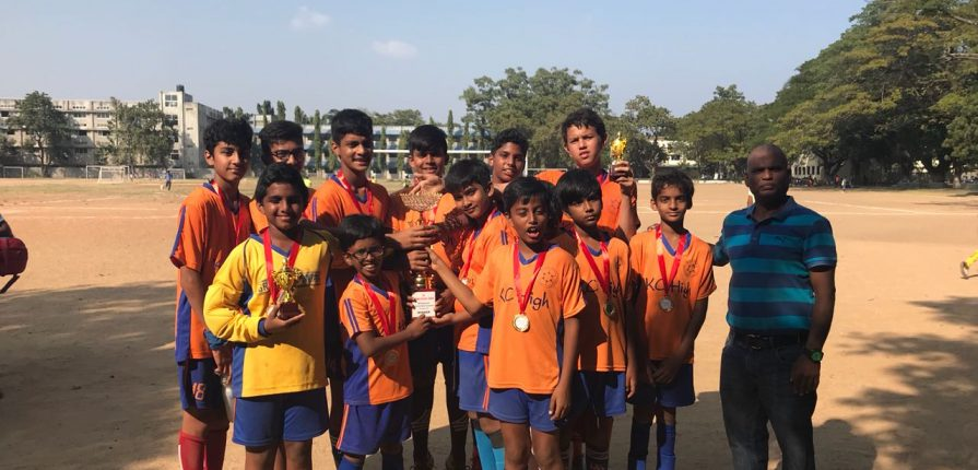 KC High students win the U-12 Chennai Football Association Tournament January 2018