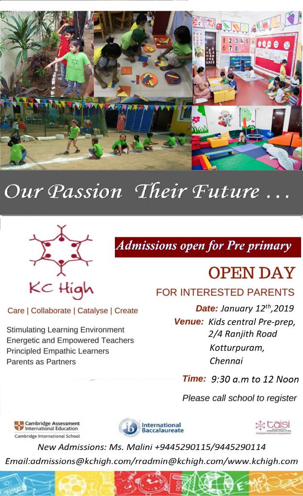 Kids Central Pre-Prep Open House Kotturpuram Invite