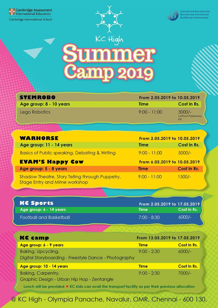 KC High International School Summer Camps 2019 Navalur OMR Chennai